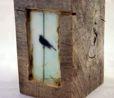 Hiding places - original encaustic mixed media carved in reclaimed barn wood