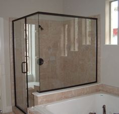 Bathroom. Mesmerizing Modern Bathroom Shower Designs. Elegant Neat Corner Bathroom Shower Decorating Ideas With Cream Ceramic Tiles Plus Clear Glass Screen And Swing Door By Using Black Colored Aluminum Frame With Shower Door Glass And Custom Shower Doors