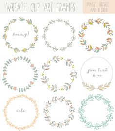 Hand Drawn Laurel Wreath Clip Art Images от FieldandFountain, $7.00