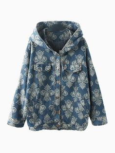 Patterned Hooded Denim Coat With Batwing Sleeves | Choies