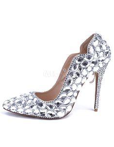 087b3e8efebd Wedding Shoes Crystal Pointed PU Bridal Pumps Chunky Heel Pumps, Patent  Leather, Crystal Rhinestone