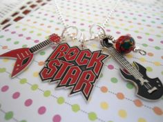 Rock Star Guitar charm Kids BOY necklace PARTY by PolkaDotThoughts, $5.00