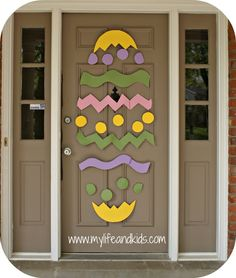 Decorate your door for Easter using poster board and masking tape!
