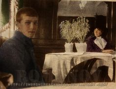 The last photo of Grand Duchess Olga and her baby brother Tsarevich Alexei. Taken four mere months before they were murdered.