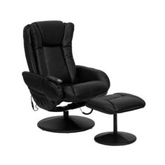 Massaging Recliner and Ottoman, Black Leather Cushion Back and Seat, Side Pocket