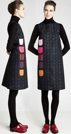 >Marimekko 'Kurkistus' dress with pockets up one side. Wedding Dress With Pockets, Dress Pockets, Marimekko Dress, Winter Typ, Mode Inspiration, Sewing Clothes, Refashion, Dresses For Sale, Women's Dresses