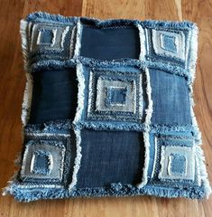 Jenniwren Originals Patchwork Cushion Cover Handmade using recycled denim and featuring multiple patches with smaller patches appliqued on Individually hand frayed all around with an envelope opening on the back Size approximately 16 inches square Mac Jean Crafts, Denim Crafts, Patchwork Cushion, Denim Patchwork, Patchwork Bags, Sewing Jeans, Denim Ideas, Shabby Chic Christmas, Sewing Pillows