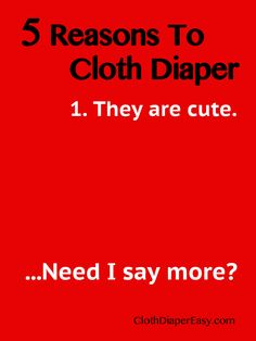 5 Reasons To Cloth Diaper - Humor http://MyGreenNest.com #ClothDiapers #Humor #Quotes *PIN NOW, LAUGH LATER!