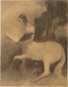 Odilon Redon (1840-1916), Centaure lisant, 19th century, Charcoal on light brown paper. The Morgan Library & Museum, Thaw Collection.