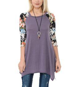 Look what I found on #zulily! Purple & Orange Floral Handkerchief-Hem Raglan Tunic #zulilyfinds