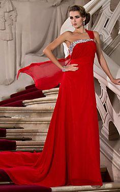 Sheath/Column One Shoulder Court Train Chiffon Evening Dress... – USD $ 179.99