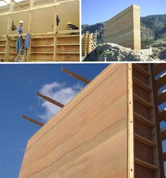 Rammed Dirt - While tamping of the earth into bricks can be made easier by a… Natural Building, Green Building, Building A House, Rammed Earth Homes, Rammed Earth Wall, Tech Art, Earthy Home, Landscape Materials, Clay Houses