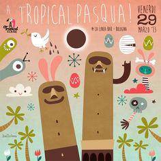 hellobea: a tropical pasqua! #atropicalclash #bologna #illustration #pasqua #party #flyer
