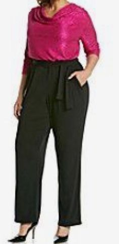NY COLLECTION METALLIC TOP JUMPSUIT - PLUS SIZE 3X #NYCOLLECTION #Jumpsuit