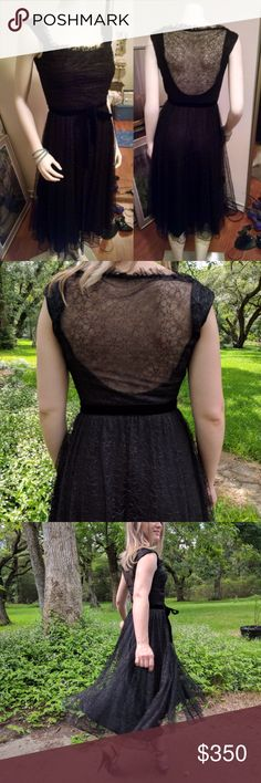 Bergdorf Goodman Classic Black Lace Overlay Dress From the Carmen Marc Valvo Collection. Features lined skirt and bodice, low scoop back covered with lace, square front neckline with delicate lace trim, gathered lace on front bodice, black velvet belt at waist, and hidden side zipper.  The first time I saw this dress I thought of Dita Von Teese, because it's both classy and sexy. It's a great dress for dancing because the skirt has a lot of movement.  Shell is 54% Polyester and 46% rayon…