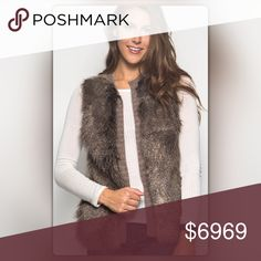 Ships 10/27! Mocha Faux Fur Vest Coming soon! Embrace the elements (and instagram worthy fall outfits) with this faux fur mocha vest. The vest has an amazing faux fur front and a contrasting sweater back. Also available in cream. Like to be notified when it arrives or comment to pre-order for $59 (Regular Price $69). NEW Boutique Jackets & Coats Vests