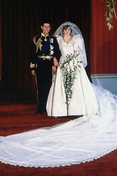 Lady Diana Spencer married Prince Charles in 1981. She wore a silk taffeta gown designed by Brits Elizabeth and David Emanuel – complete with enormous puff sleeves, 10,000 hand-stitched pearls and a record-breaking 25-foot train.