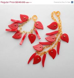 SALE Art Deco Necklace. Bakelite & Celluloid. Carved Heart Shaped Leaves. Cherry Red Chilis.  Apple Juice.