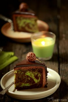 Moist Chocolate Pandan Marble Cake (cake recipe is in English at the bottom of the page, but you must use Google translate for the ganache recipe)