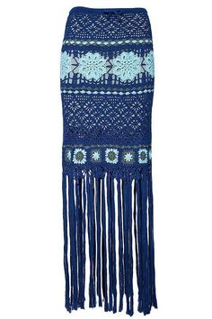 Handmade crochet skirt with fringe, fancy with flowers, certified yarn, blue and teal color (100% co makò) made in italy - regular fit Model is 1.77 mt and wear S