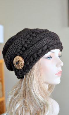 Slouchy Slouch Beanie Cable botón mano punto invierno mujer sombrero sombrero elegir COLOR Espresso caída Chocolate oscuro marrón grueso Navidad regalo