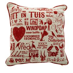 Scatter cushion - specially for homesick expats! Scatter Cushions, Throw Pillows, My Roots, Afrikaans, Woven Rug, Soft Furnishings, Vintage Decor, Color Splash, South Africa