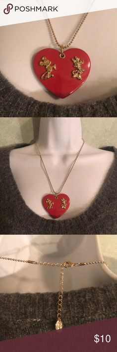 Disney Heart Necklace Gold tone chain, gold tone Micky & Minnie Mouse, red heart Disney Jewelry Necklaces