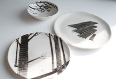 Birch Wood Porcelain Plate by flatearthstudio on Etsy, $45.00