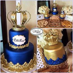 """""""Little Prince"""" Royal Cakes Royal Blue & Gold birthday cake with crowns.  http://www.royalcakesla.com Royal Cakes Los Angeles"""