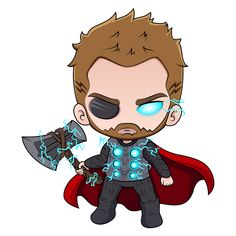 Marvel Chibi Thor Sticker - Sticker Mania
