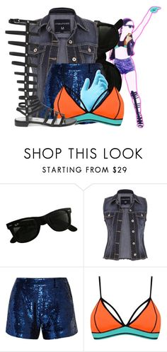"""""""Cool for the Summer by Demi Lovato on Just Dance 2016"""" by god-girl ❤ liked on Polyvore featuring Ray-Ban, maurices, Ashish, Topshop, Stuart Weitzman and justdance2016"""