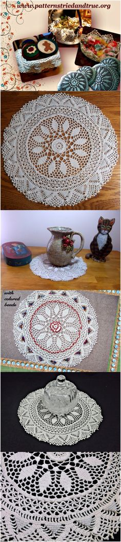 This crochet round doily with beads pattern is a classic! Perfectly wonderful inexpensive wedding present which can be used for many things: basket liners, pillows, as candy basket, appliqué for garments.... endless uses in whole or in parts.