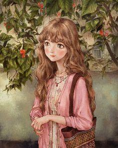 Fairy forest cute girl sweet Art Needlework Canvas Unprinted Handmade Embroidery DMC Cross Stitch Kits DIY Home Decor Girl Cartoon, Cute Cartoon, Forest Fairy, Cute Illustration, Anime Art Girl, Cute Drawings, Art Pictures, Cute Art, Art Sketches