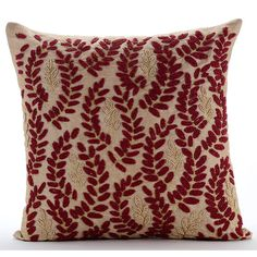 Deep Red Bead Embroidered Leaf Crunch - 16x16 Beige Silk Pillow Cover