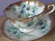 Vintage Royal Albert tea cup and saucer set, blue daisies English tea set, blue and white bone china tea cup