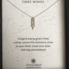 """Three Wishes Necklace in Sterling Silver New in box. Tag attached to box. Three Sterling silver metal twist tubes dangle daintily from a sterling silver chain. Spring ring clasp. Pendant length approx. 0.5"""". Guaranteed authentic. Purchased from a high end retailer. Beware of the """"inspired"""" Dogeared items currently posted! Tags are attached to the box. Dogeared Jewelry Necklaces"""