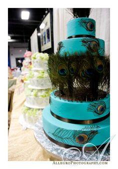 Peacock Cakes! :  wedding blue green peacock peacock cake teal wedding cake Blue Wedding Cake Ideas