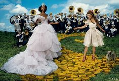 "Keira Knightley as Dorothy and Kara Walker playing Glinda the Good Witch, inspired by the 1939 classic, ""The Wizard of Oz"" by Annie Leibovitz for Vogue December 2005."