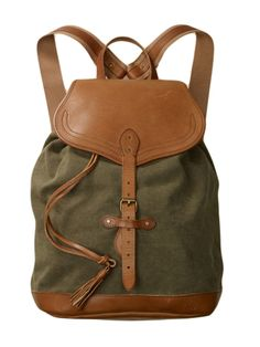 Rugby Canvas and Leather Backpack, $188. rugby.com