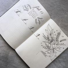 Bullet journal weekly layout, flower drawing, minimalist daily headers, calligraphy headers, vertical dailies, flower header, notes. | @victorias.bulletjournal