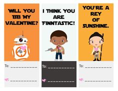 Free The Force Awakens Star Wars printable Valentine's Day cards: BB-8, Finn, Rey. Cool!  | A Grande Life.