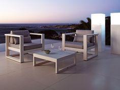 Low Square aluminium garden side table FUSE | Square garden side table - MANUTTI