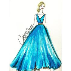Today's girl takes her cue from #Cinderella. ❤️ #Cate Odson #FashionIllustration #FashionSketch