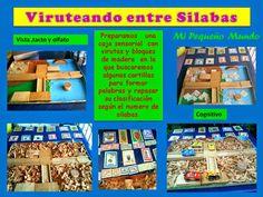 Una caja sensorial con virutas de madera. Trabajando las silabas