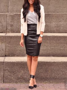 68b6434d3 Business Casual Outfits, Business Attire, Black Leather Skirts, Leather  Pencil