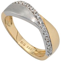Damen Ring 585 Gold Gelbgold Weißgold 16 Diamanten Brillanten A39025 52