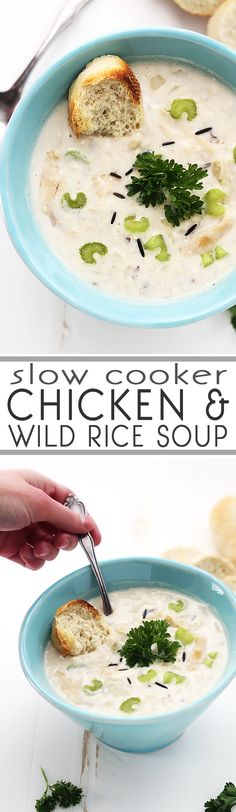 Slow Cooker Chicken & Wild Rice Soup. Creamy, healthy comfort food as it's best - and so easy!