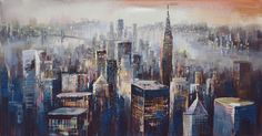 City Dusk Wall Décor Acrylic Painting Canvas