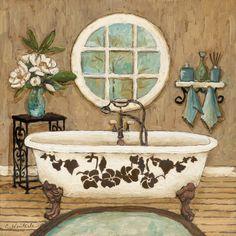 Country Bath Inn I by Charlene Olson 12x12 in. Art Print