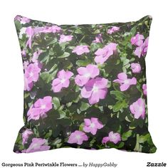 Gorgeous Pink Periwinkle Flowers Print Throw Pillow